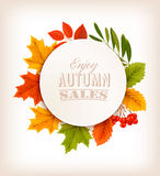 Autumn Sales Banner With Colorful-Blätter stock abbildung