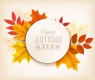 Autumn Sales Banner With Colorful-Blätter lizenzfreie abbildung