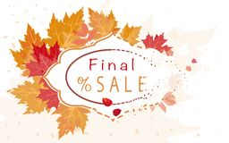 Autumn sales banner with colorful leaves vector illustration