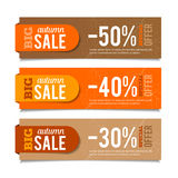 Autumn Sales Banners. Seasonal advertising, marketing events. For web or print. Vector graphic Stock Photos