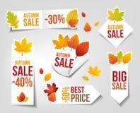 Autumn Sales Labels Arkivfoton
