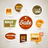 Autumn Sales Labels - etiquetas engomadas Fotos de archivo libres de regalías