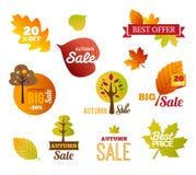 Autumn Sales Labels - klistermärkear Arkivfoto