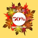 Autumn sales poster with beautifull lettering stock illustration