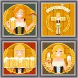Autumn Sausage Beer Mug Oktoberfest Girl Character Poster Festival Celebration Symbol Ear Barley Wooden Barrel Royalty Free Stock Images