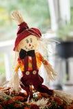 Autumn Scarecrow in Mums Stock Image