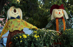 Autumn Scarecrows in the Garden Stock Photo