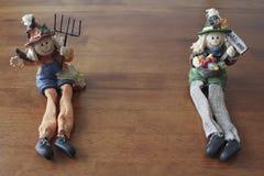 Autumn Scarecrows. Image of Two Autumn Scarecrows Royalty Free Stock Images