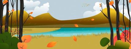 Autumn Scene. Peaceful, colorful and nostalgic Autumn landscape Royalty Free Stock Image