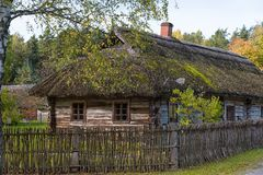 Rural wooden house Rumsiskes Lithuania Stock Photography