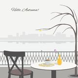 Autumn scene with cafe table on the embankment stock illustration