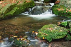 Autumn scene with cascading waterfall Royalty Free Stock Photos