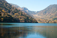 Autumn scene of Chuzenji lake, Nikko Stock Photo