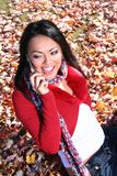 Autumn Scene Fall Woman With Cell Phone Royalty Free Stock Photos