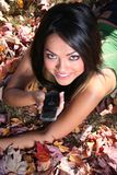 Autumn Scene Fall Woman With Cell Phone Stock Photos
