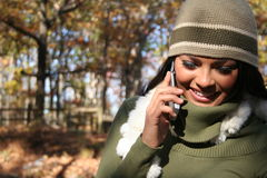 Autumn Scene Fall Woman With Cell Phone Royalty Free Stock Images