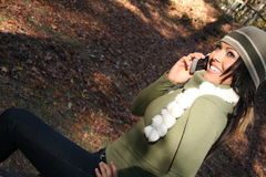Autumn Scene Fall Woman With Cell Phone Stock Image