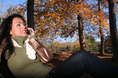Autumn Scene Fall Woman With Cell Phone Stock Photo