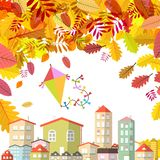 Autumn Scene with Falling Leaves and Abstract City and Kite on Sky. Vector vector illustration
