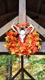 Autumn scene. Halloween leaves deee antler skull reef hanging in outdoor buliding Royalty Free Stock Photography