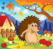 Autumn scene with hedgehog 1 royalty free stock image