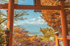 Autumn scene in Japan - Mt. Fuji through a gate Royalty Free Stock Image