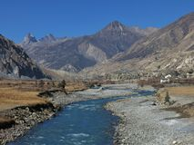 Autumn scene in Manang Royalty Free Stock Photography