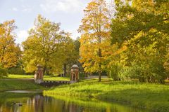 Autumn Scene in Park.Tzarskoye selo,Russi Royalty Free Stock Photography