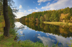 Autumn scene on river Royalty Free Stock Photography