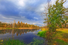 Autumn scene on river Royalty Free Stock Photo