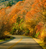 Autumn scene on the road. Autumn colors in october in beautiful north carolina on blue ridge parkway royalty free stock image