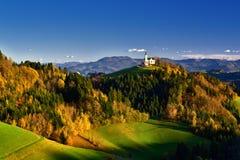 Slovenia beautiful landscape ,nature and autumn scene. Autumn scene in Slovenia ,mist, white frost over autumn trees , landscape, nature, beautiful scenery royalty free stock photo