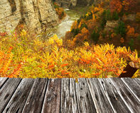 Autumn scene of waterfalls and gorge Stock Image