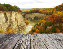 Autumn scene of waterfalls and gorge Stock Photo