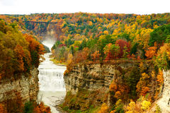Autumn scene of waterfalls and gorge Royalty Free Stock Images