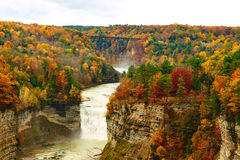 Autumn scene of waterfalls and gorge Stock Images
