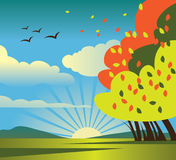 Autumn scenery. Colored vector illustration Royalty Free Stock Photo