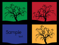 Autumn scenery. 3 variation of tree silhouette Stock Images