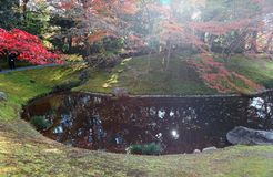Autumn scenery of a beautiful corner in a Japanese garden in Sento Imperial Palace Royal Villa Park in Kyoto, Japan stock photography