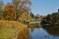 Autumn scenery - bridge in the park. City Lodz Stock Images