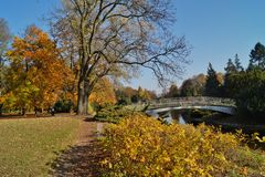 Autumn scenery - bridge in the park. City Lodz Royalty Free Stock Photo