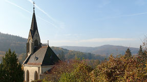 autumn scenery with a cemetery chapel Royalty Free Stock Photo