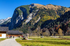Autumn scenery of Engalm with alpine village Almdorf Eng, Tyrolean Karwendel Mountains, Austria,Tirol. Autumn scenery of Engalm with alpine village Almdorf Eng royalty free stock photography