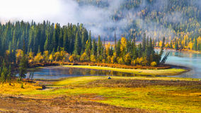 Autumn scenery @ Fairy Bay, Kanas, Xinjiang China Royalty Free Stock Photos