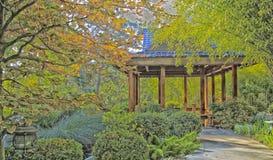 Park gazebo. Autumn scenery with green yellow orange leaves surrounding a wooden gazebo Stock Images