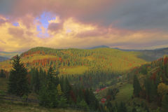 Autumn scenery of the hill. In Transylvania Royalty Free Stock Photo
