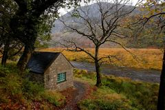 Autumn scenery in Ireland. Small house along the road, opposite the yellow field. Dull autumn day Royalty Free Stock Photography