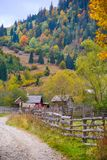Autumn scenery landscape with colorful forest, wood fence and rural road in Prisaca Dornei. Suceava County, Bucovina, Romania Stock Photo