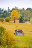 Autumn scenery landscape with colorful forest, wood fences and hay barns in Bucovina, Romania. Autumn scenery landscape with colorful forest, wood fences and hay Royalty Free Stock Photo