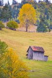 Autumn scenery landscape with colorful forest, wood fences and hay barns in Bucovina, Romania. Autumn scenery landscape with colorful forest, wood fences and hay Stock Photography
